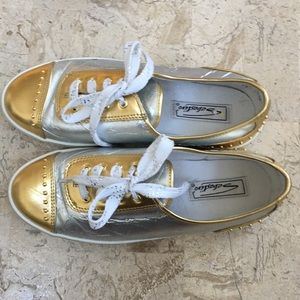 Metallic Gold/Silver Sneaker Lace Up Vegas Wide